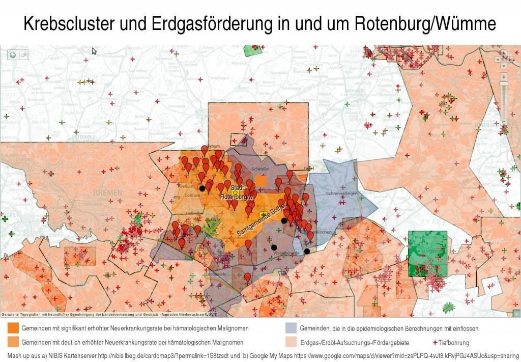 Karten-Mashup Krebsinzidenzen vs. Ergasfördergebiete