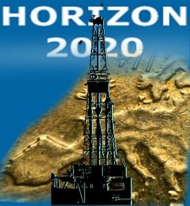 """Collage """"Europa auf der 20-Cent-Münze"""", HORIZON2020-Logo, Bohrturm"""