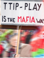 TTIP-play is the MAFIA way - demonstrator in Amsterdam, Oct. 2015