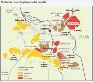 Karte der Tagebaue im Braunkohle-Revier Ost (Grafik: Umweltgruppe Cottbus)