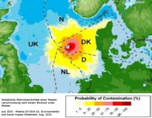 Potential contamination area in case of a subsea blowout (statistical probability)