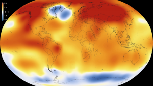 Erde eingefärbt nach Temperaturunterschieden.