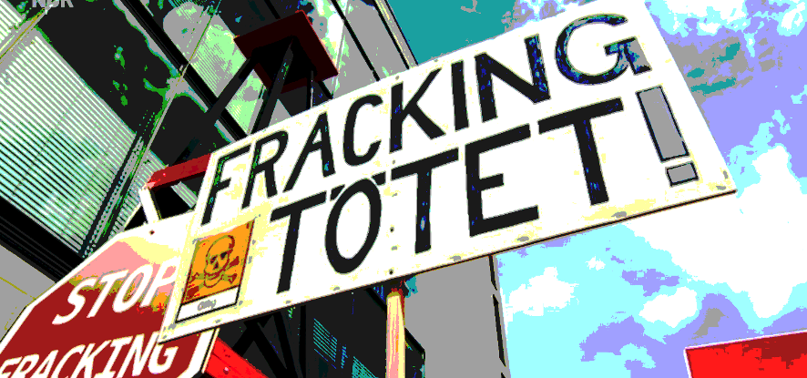 "anti-Fracking-Plakat ""Fracking tötet"""