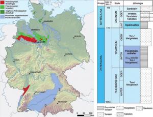 Karte unkonventionelle Erdöl-/Erdgas-Lagerstätten Deutschland. BGR 2016