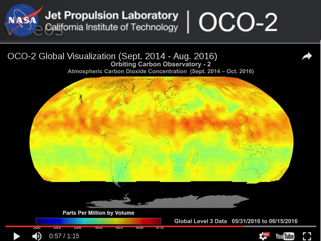 screenshot of visualization of earth's atmospheric CO2 load between (Sept. 2014 - Aug. 2016)