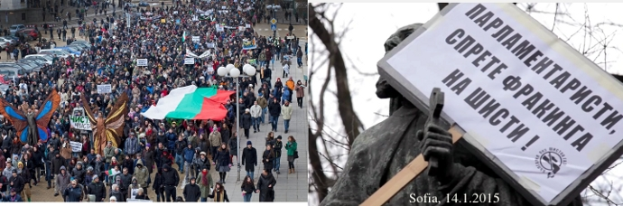 Anti-Fracking-Demo in Sofia, Bulgarien, am 14. Januar 2015