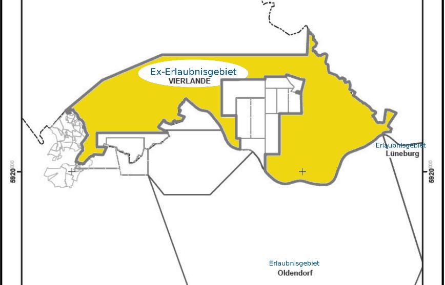 Karte: Erlaubnisgebiet Vierlande im Süden der Freien und Hansestadt Hamburg